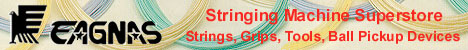 Eagnas, stringing machine warehouse, stringing tools, strings, tennis trainers, grips, badminton racquets